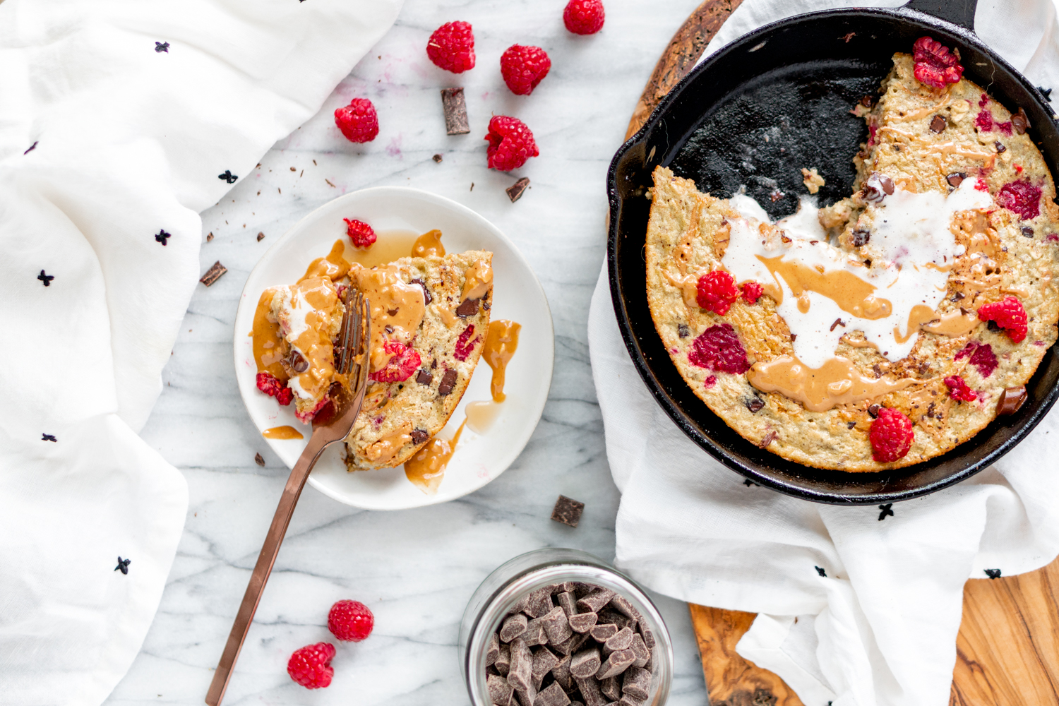 Raspberry Chocolate Baked Oatmeal with a Peanut Butter Swirl