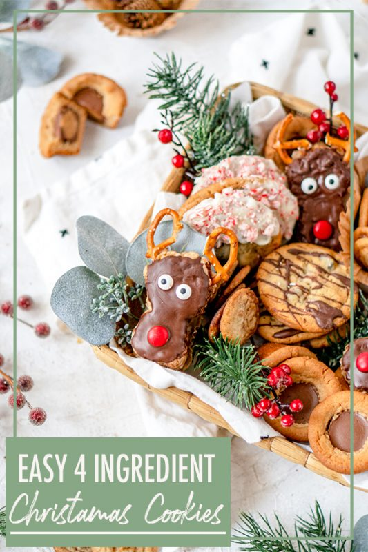 Easy Christmas Cookie recipes using 4 ingredients or less.