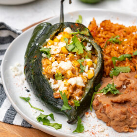 Close up of Elote Street Corn Stuffed Poblano Peppers